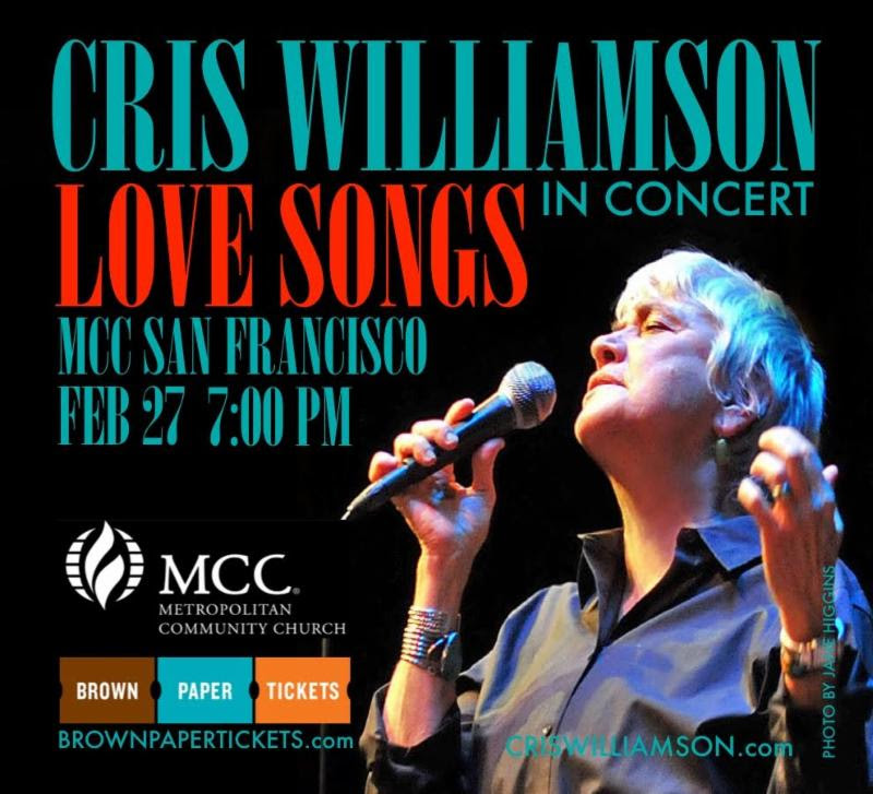 Cris Williamson in Concert February 27  7 PM at 1300 Polk Street  click for tickets